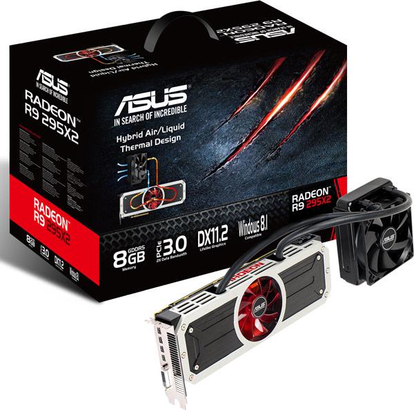 3D-карта Asus R9 295X2 имеет два графических процессора и гибридную систему охлаждения