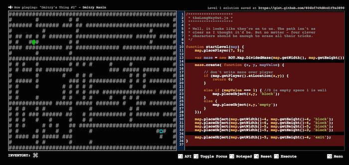 Приключенческая игра, в которую играют путем изменения её Javascript кода