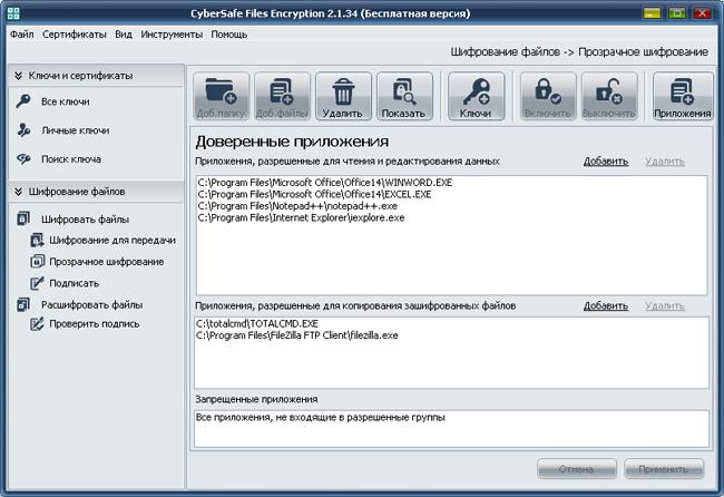 Прозрачное шифрование файлов на локальном компьютере при помощи CyberSafe Files Encryption