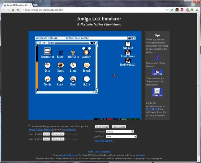 Разработчики из Google сделали эмулятор Amiga 500 для Chrome
