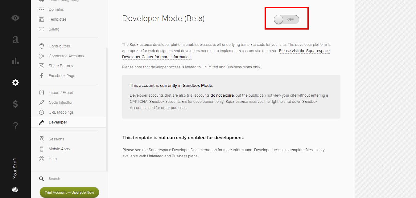 Включение developer-режима сайта