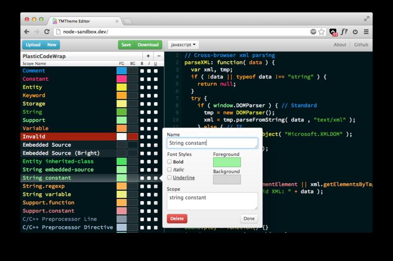 Редактор цветовых схем для SublimeText 2