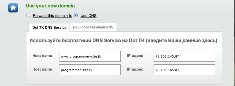 dot.tk enter ip