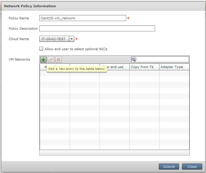 Задание параметров для Network policy