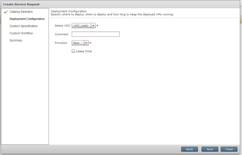 Выбор доступного vDC и время развертывания виртуальной машины