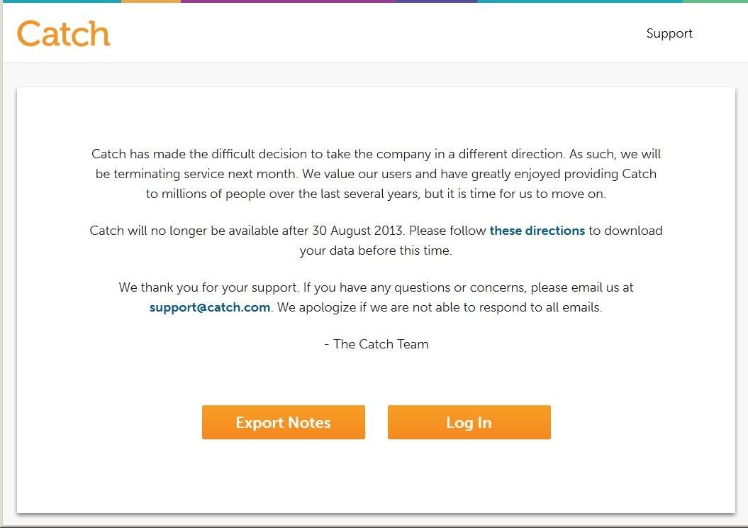 Сервис и приложение для заметок Catch закрывается