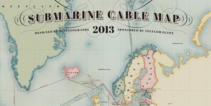Схема интернет магистралей мира от TeleGeography