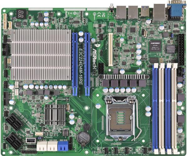 Системная плата ASRock Rack E3C224D4M-16RE выполнена в типоразмере ATX