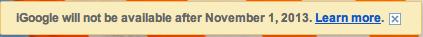Служба iGoogle прекратит работу 1 ноября 2013 г