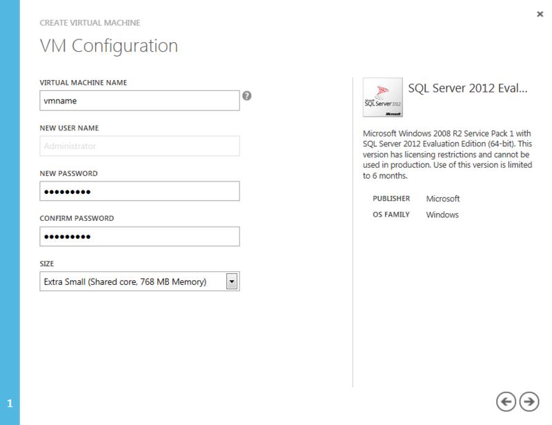 Создание виртуальной машины SQL 2012 в Windows azure и подключение к ней
