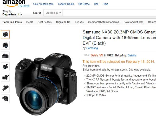 Стала известна цена и срока начала поставок камеры Samsung NX30