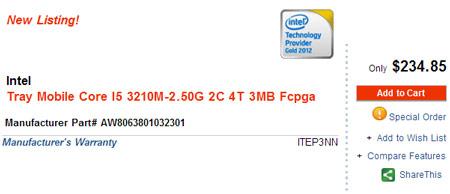Стали известны спецификации и цена процессора Intel Core i5-3210M