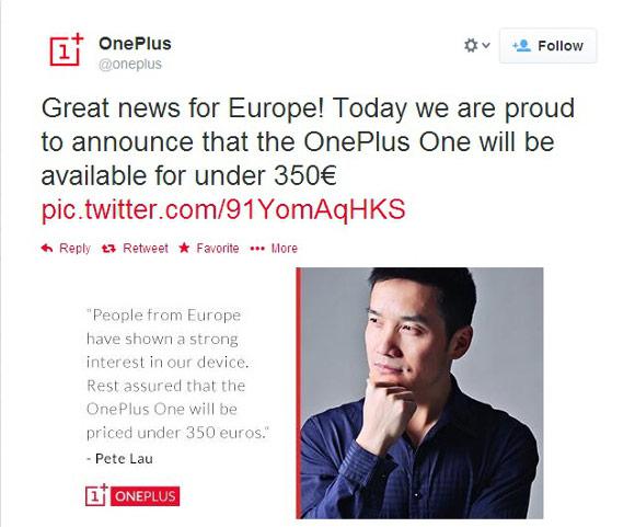 Смартфон OnePlus One в Европе будет стоить 350 евро