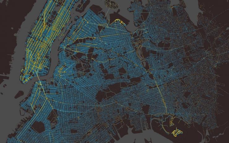 Такси в Нью Йорке: визуализация перемещений за год