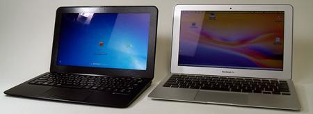 Mouse Computer LuvBook X рядом с MacBook Air