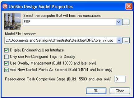Настройки модели в UniSim Operations