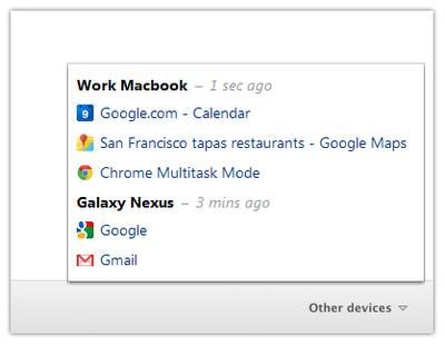 В Google Chrome 19 появилась синхронизация открытых вкладок
