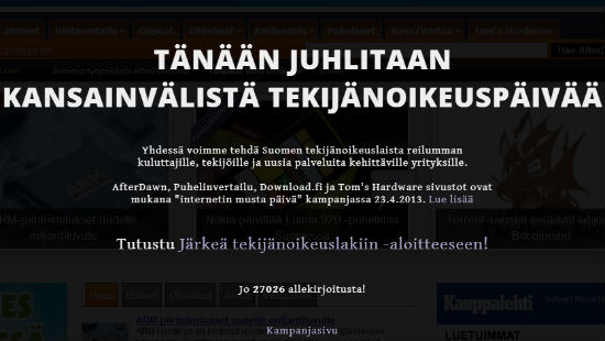 В Финляндии обсудят предложенный сообществом закон о копирайте