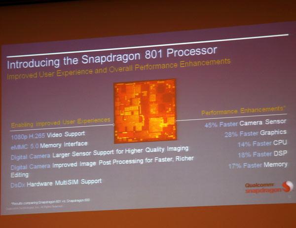 В состав Qualcomm Snapdragon 801 входит четырехъядерный процессор Krait 400