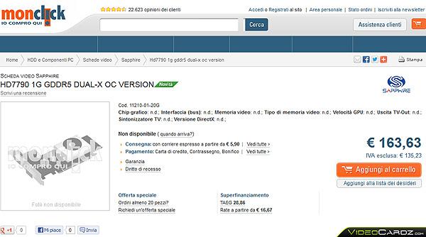 Sapphire HD 7790 Dual-X OC, цена