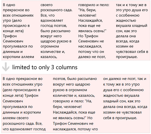 limited to 3 columns