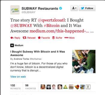 Я купил еду в Subway е за биткоины и это было круто