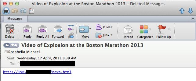 Зафиксирован спам, использующий тему трагедии в Бостоне