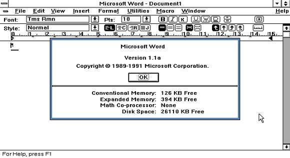 Рисунок 1. Word for Windows 1.1a (нажмите на картинку для увеличения).