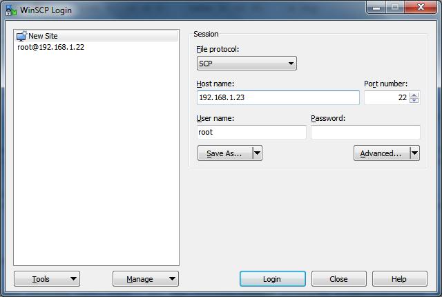 Скриншот окна подключения