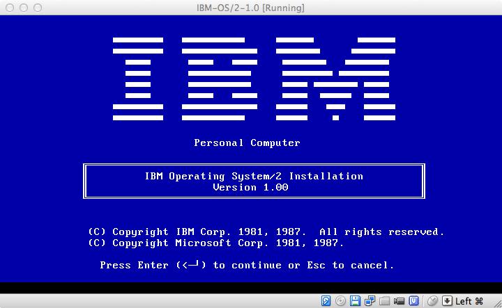 IBM Operating System/2 Installation. Version 1.00