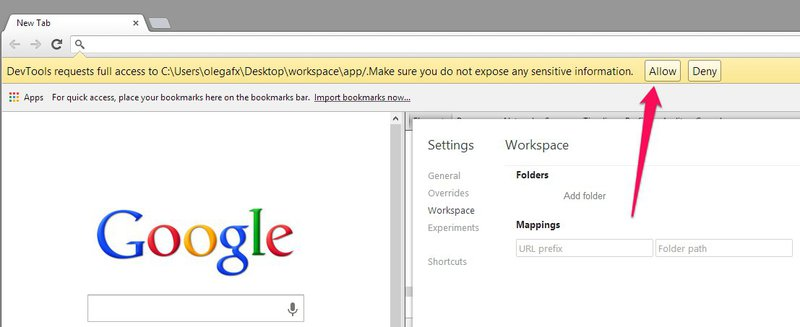 «Workspace» и «Сниппеты» в Chrome Dev Tools