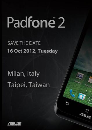 16 октября ASUS представит Padfone 2 одновременной в Милане и Тайпее