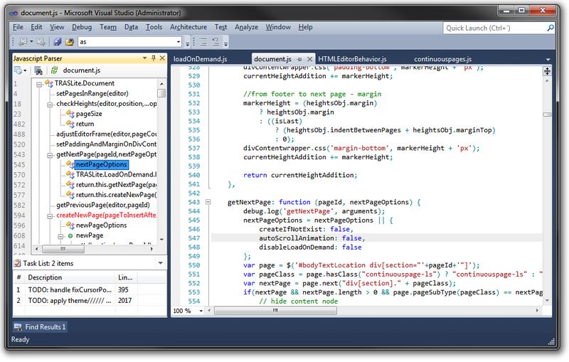 Visual Studio / [Из песочницы] Javascript Parser Extension для VisualStudio