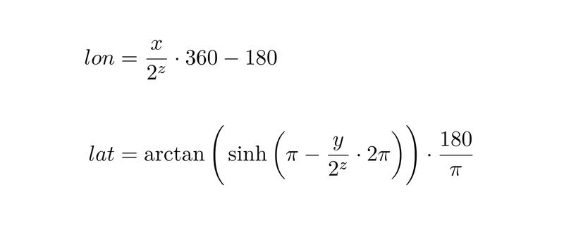 Конвертация номеров тайлов в геокоординаты