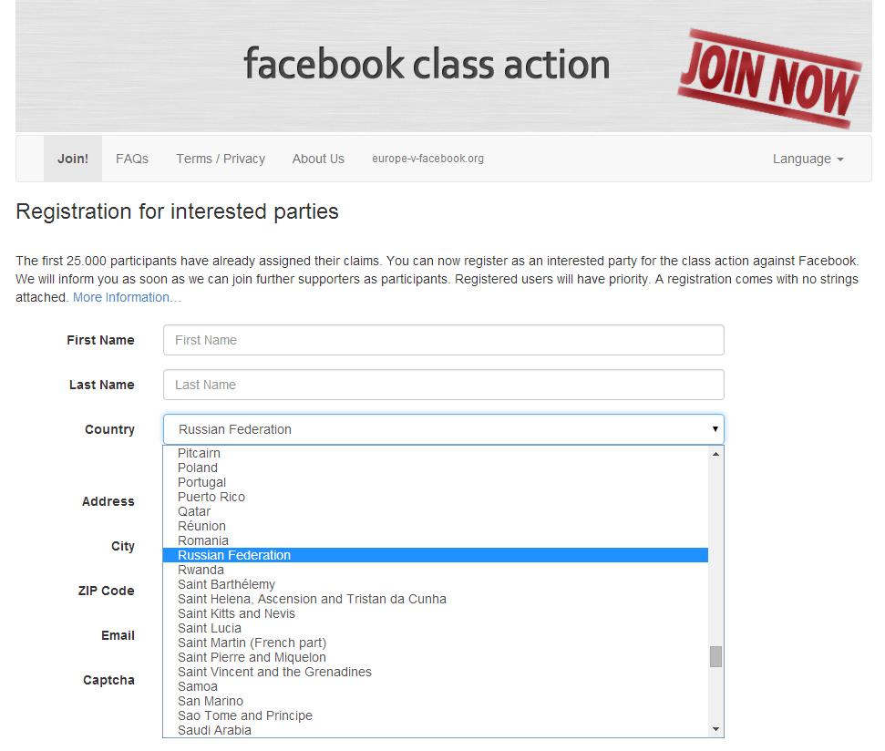 Коллективный иск против Facebook поддержали более 60 000 человек