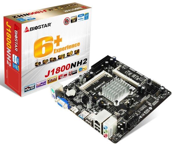 На системной плате Biostar J1800NH2 есть два слота для модулей памяти SO-DIMM