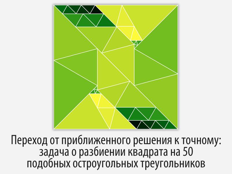 Переход от приближенного решения к точному: задача о разбиении квадрата на 50 подобных остроугольных треугольников