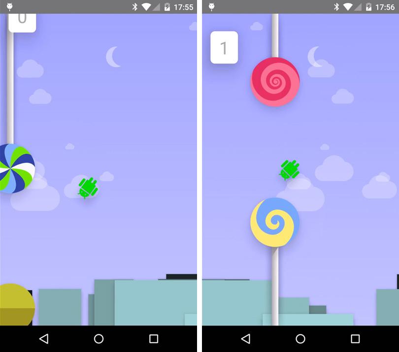 «Easter egg» для Android 5.0: играем в аналог Flappy Bird