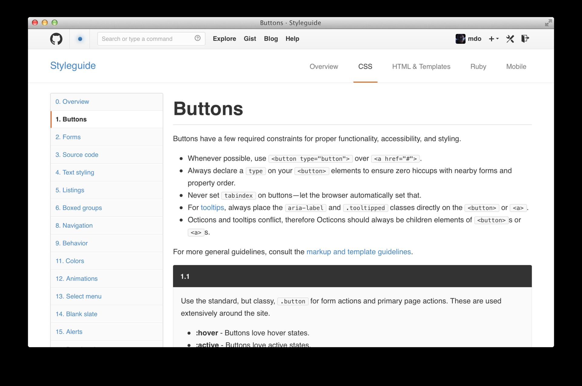 Разработка CSS в GitHub