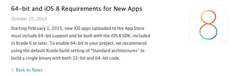 Apple обязала разработчиков создавать 64 битные приложения