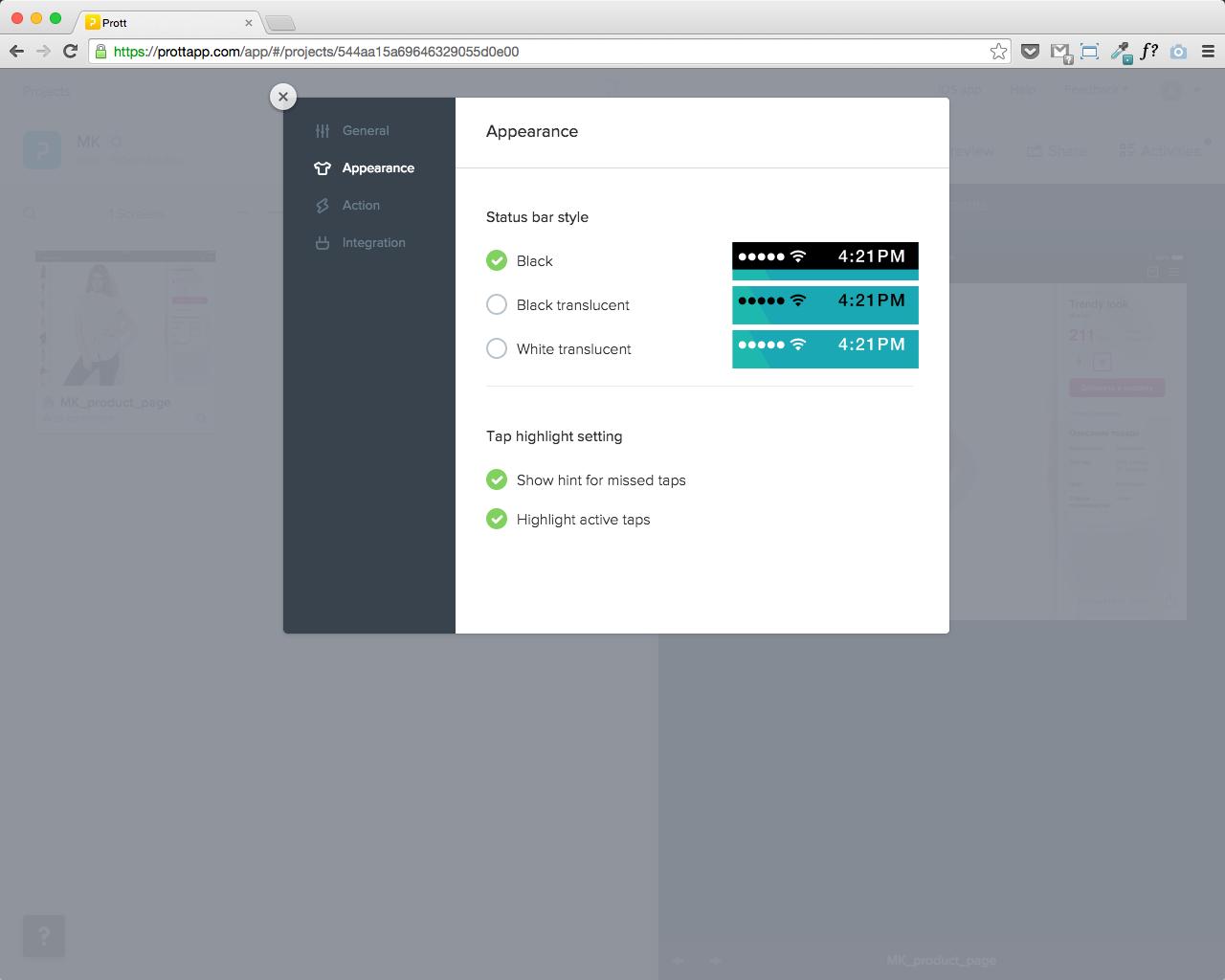 Prott — сервис для прототипирования приложений