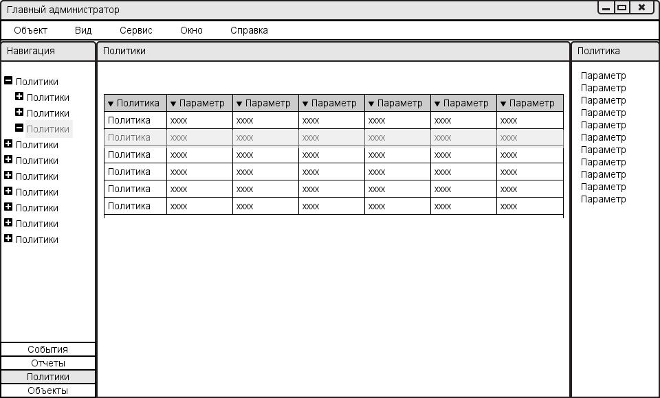 Пользовательский интерфейс программы администрирования. Универсальный подход