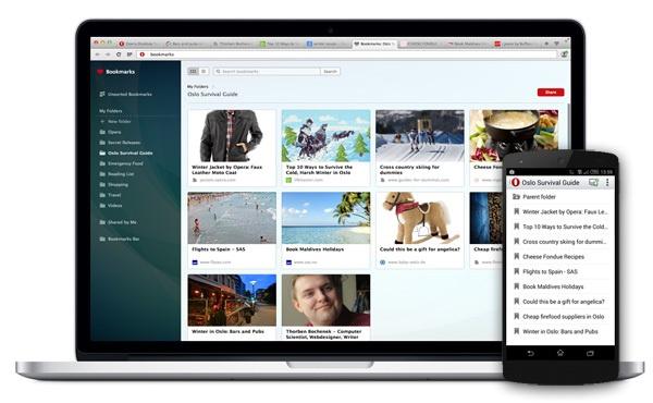 Синхронизация с Opera для Андроида и обновлённый Opera Coast