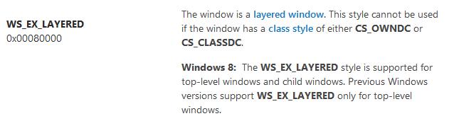 Стиль WS_EX_LAYERED для дочерних окон в Windows 8 - 1