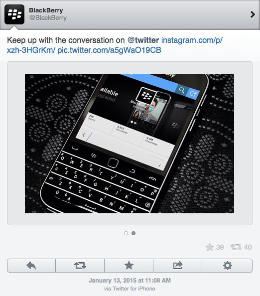 Сообщения в официальный twitter-аккаунт BlackBerry постились с iPhone - 2