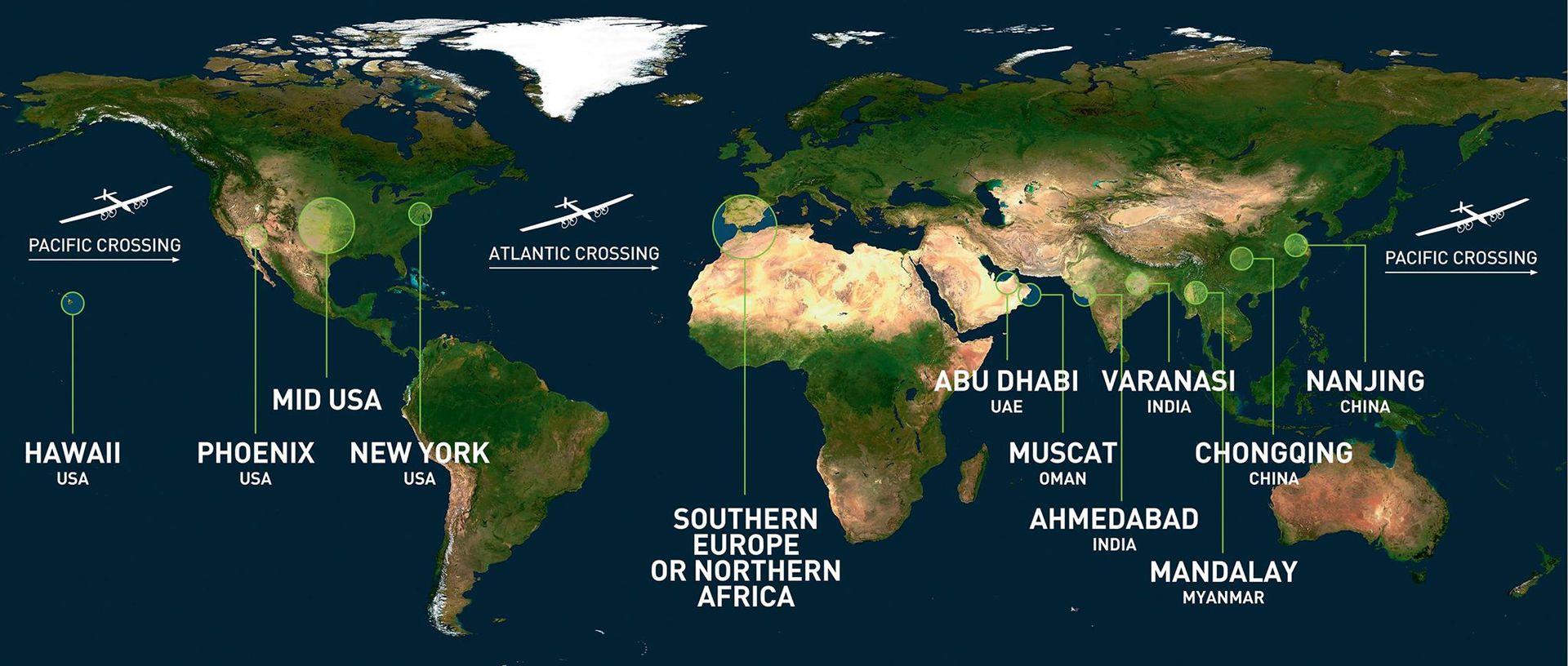 Команда Solar Impulse опубликовала маршрут кругосветного путешествия - 1