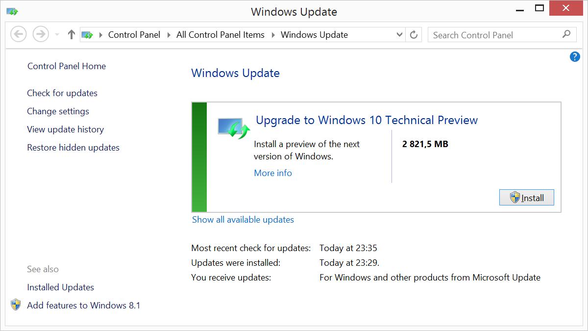 Обновление с Windows 7-8.1 до Windows 10 TP через Windows Update - 9