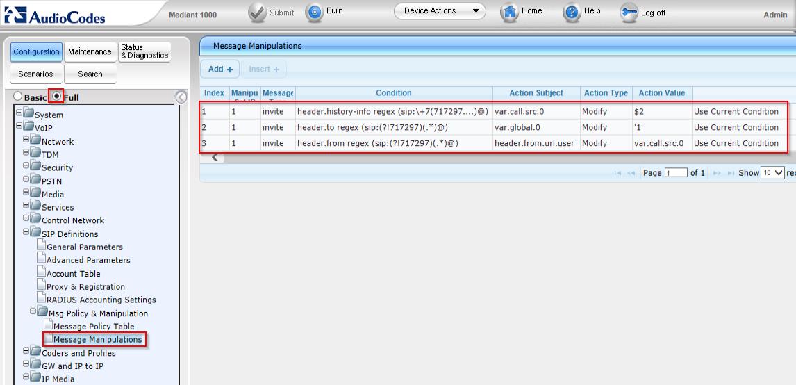 Audiocodes + Lync 2013 + провайдер, не поддерживающий History-info - 5