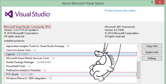 PVS-Studio и CppCat для Microsoft Visual Studio Community 2013 - 1