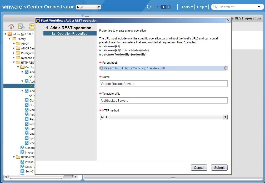 Автоматизация задач резервного копирования с помощью vCenter Orchestrator через Veeam Restful API - 14
